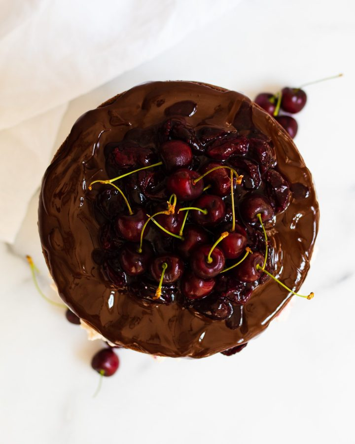 overhead of the black forest gateau
