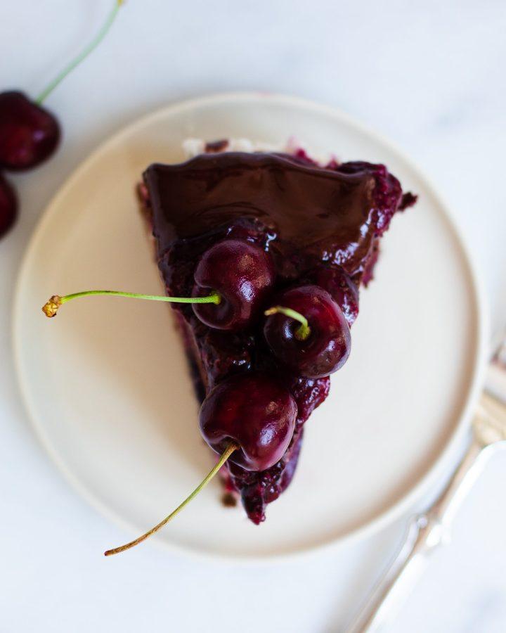 slice of homemade black forest cake