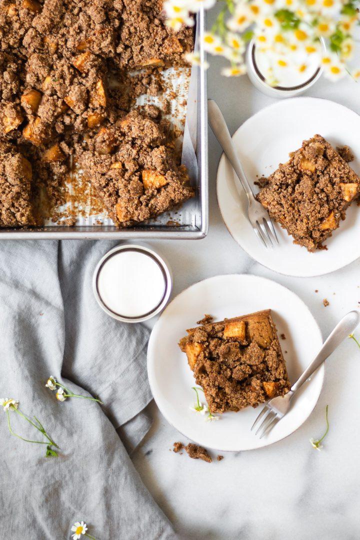 slices of apple cinnamon crumble cake on plates