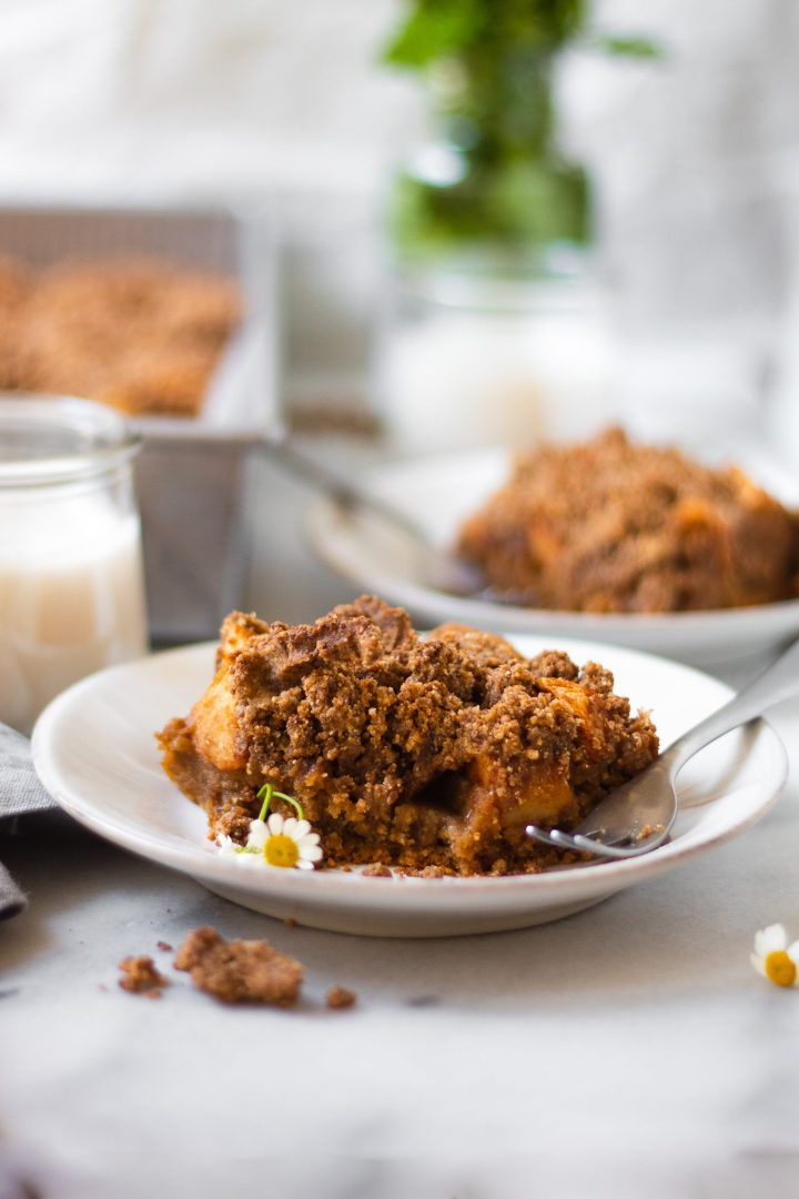 slice of apple crumble cake on plate