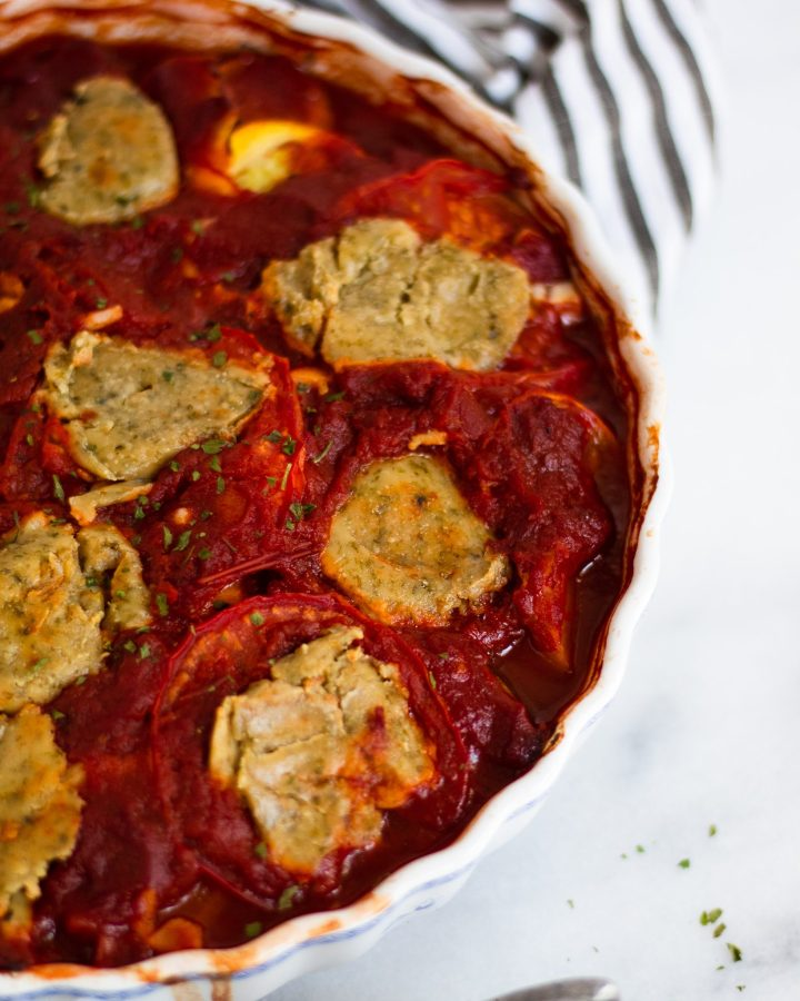 close up of ratatouille baked