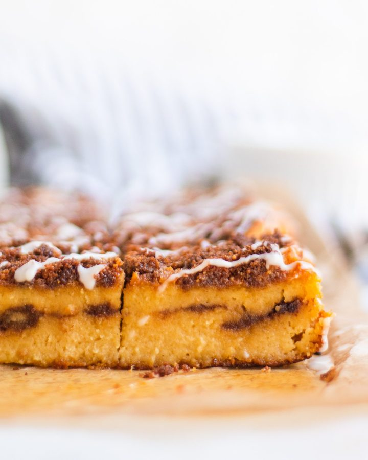 layers of cinnamon and coffee cake