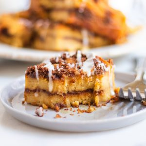 coffee cake on grey plate with fork