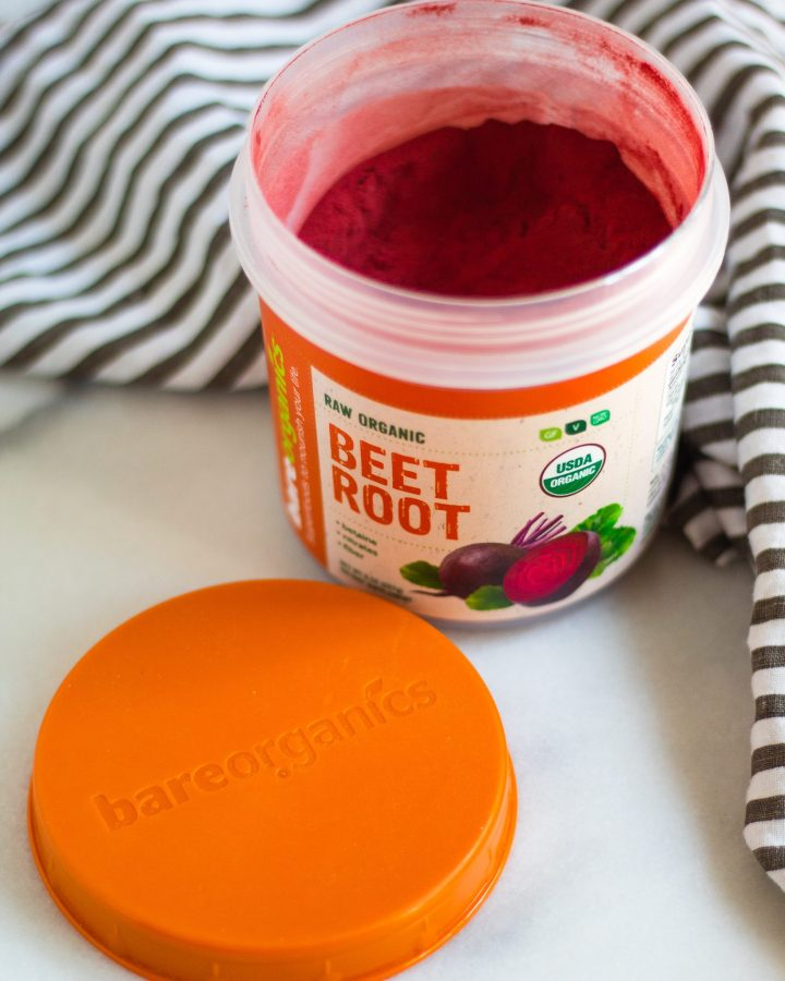 container of beet root powder