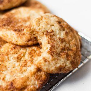 close up of vegan snickerdoodle cookies