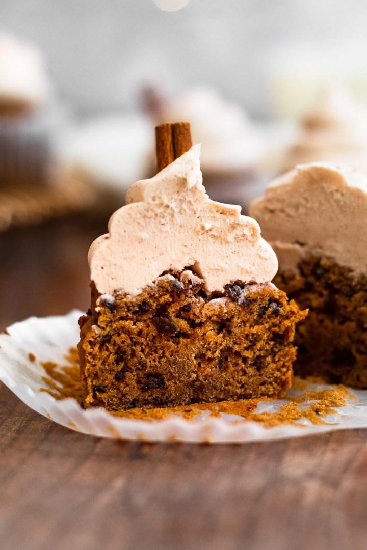 sliced open cinnamon cupcake