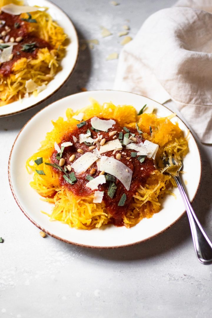 plate of spaghetti squash
