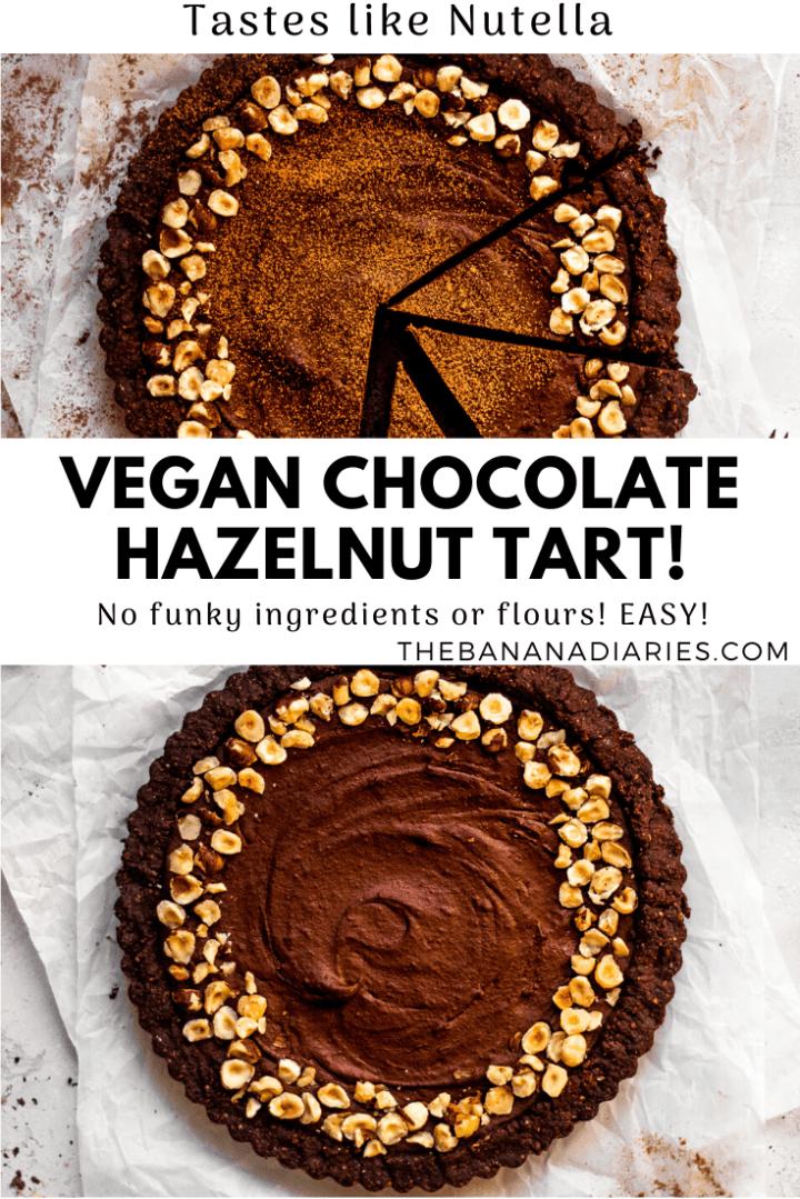 pinterest image for chocolate hazelnut tart