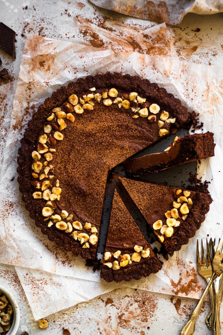 slices of vegan chocolate tart
