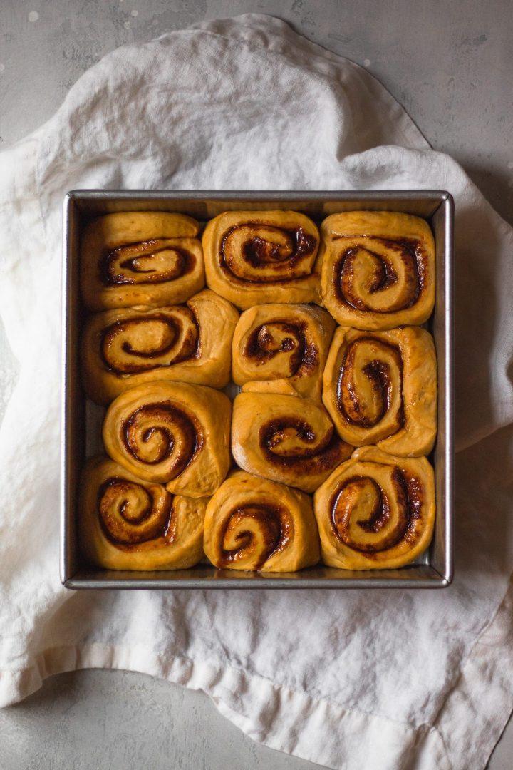 cinnamon rolls before baking