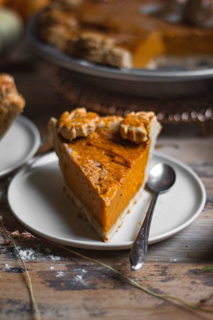 straight on slice of sweet potato pie