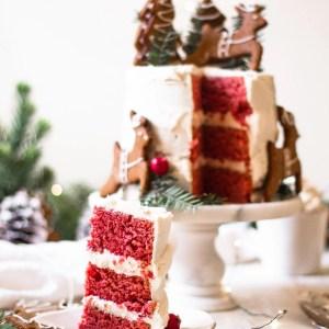 slice of red velvet cake on plate