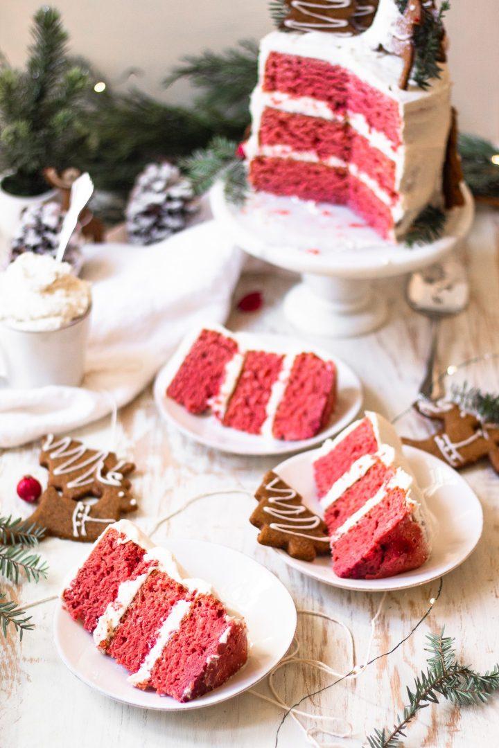 slices of gluten free healthy red velvet cake