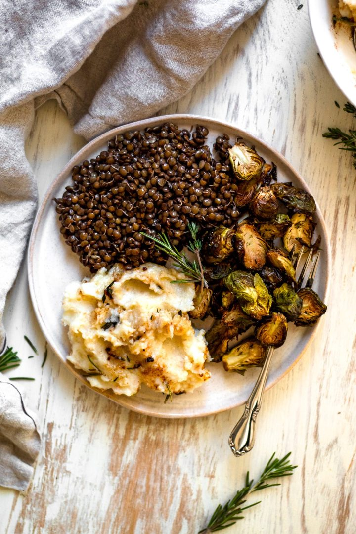 plate of lentils with brussels sprouts