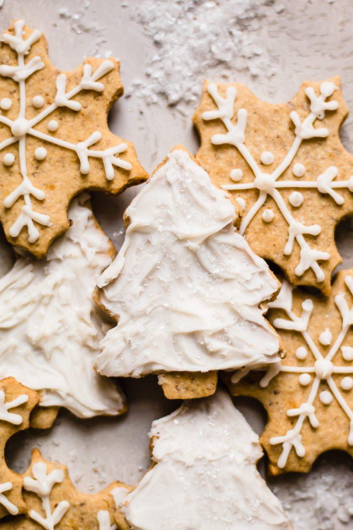 close up of christmas tree sugar cookie