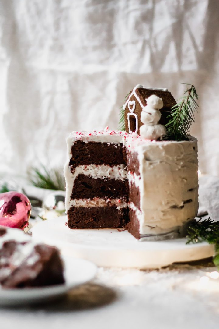 sliced chocolate peppermint cake