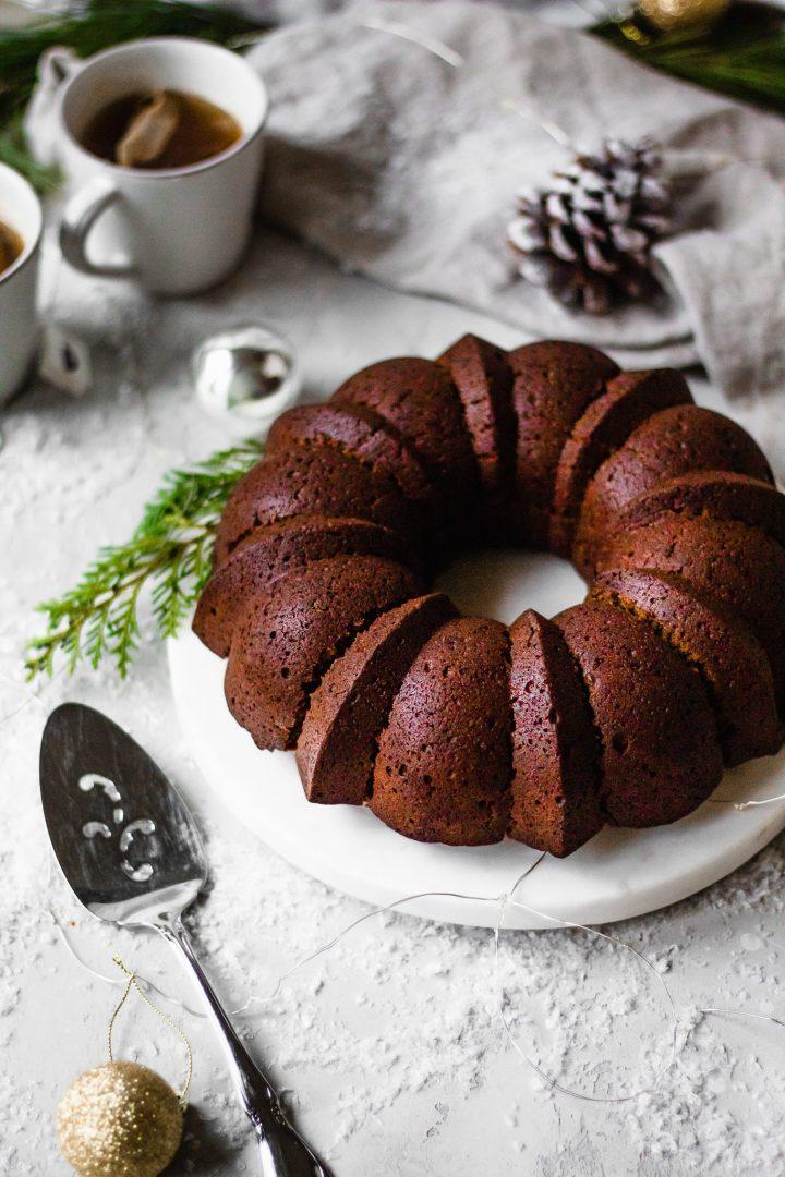 gingerbread bundt cake on marble slab