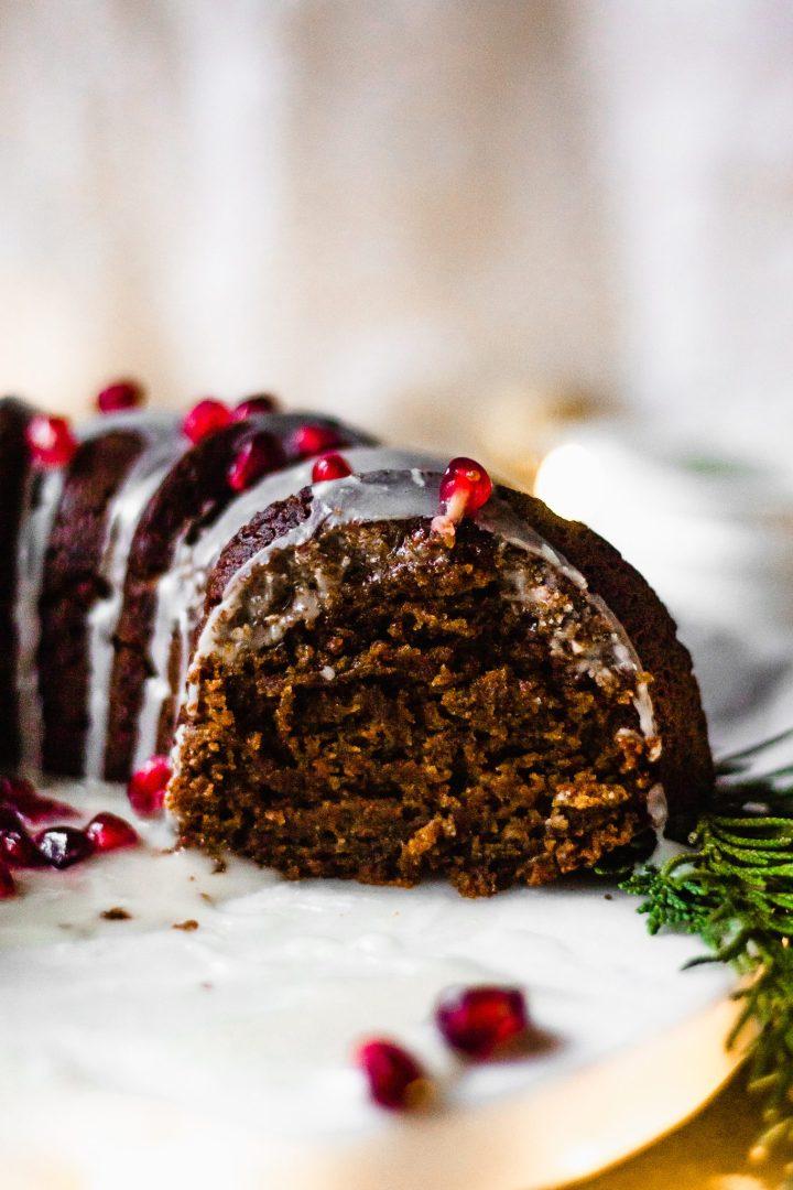sliced gluten free gingerbread bundt cake