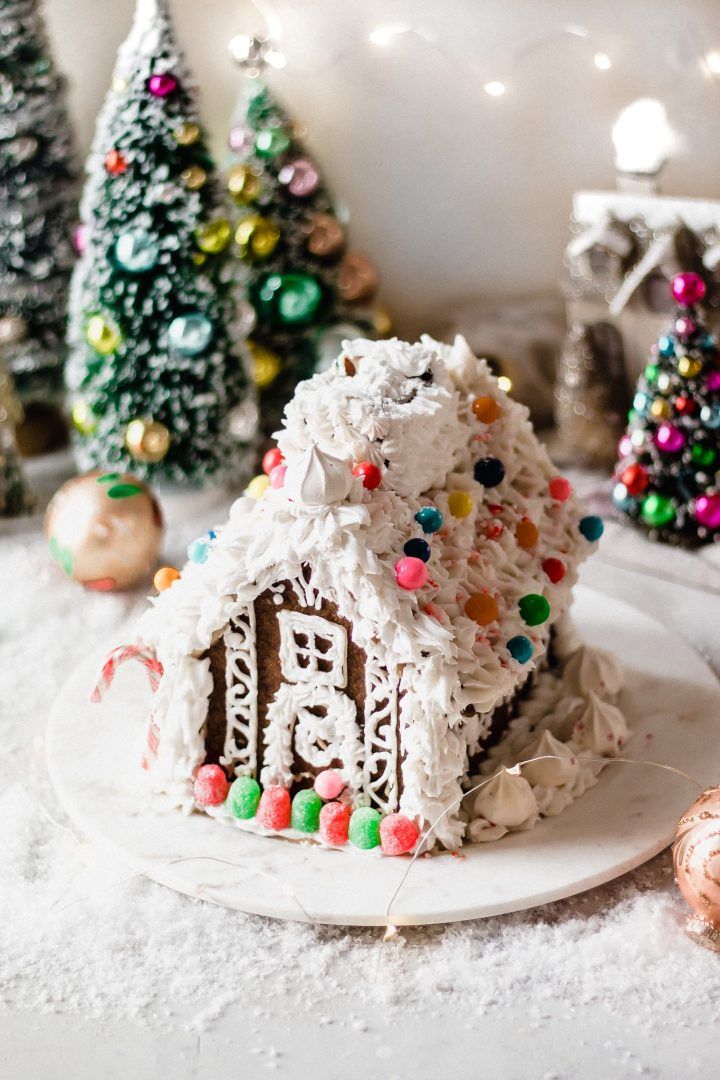 vegan gingerbread house on marble plate