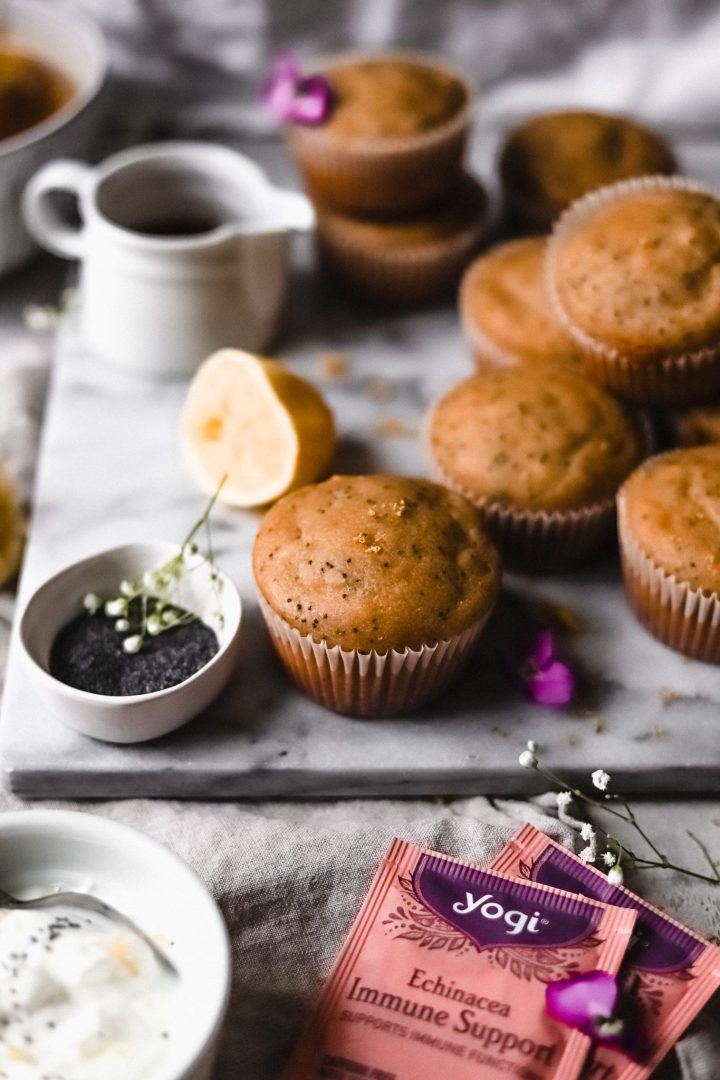 lemon poppy seed muffins with tea bags