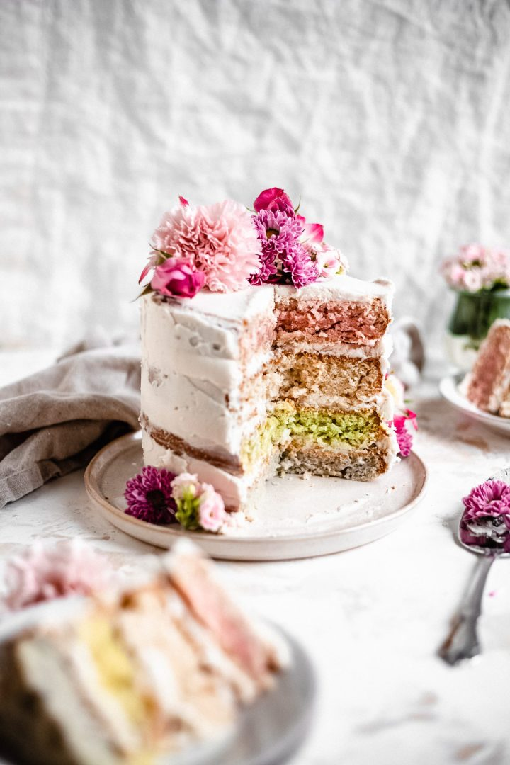 pastel layer cake on a plate