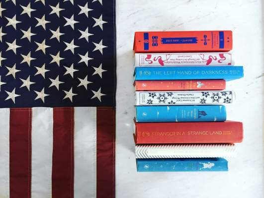 red white and blue books