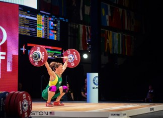Tia-Clair Toomey at the 2015 IWF World Championships