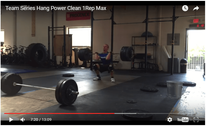 Screen cap of Panchik's 350-pound hang power clean during CrossFit Team Series