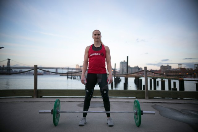 Annie Thorisdottir prepares to break another GUinness World Record outside