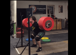 Nathan Damron with a 285kg pause back squat (screen cap via Instagram)