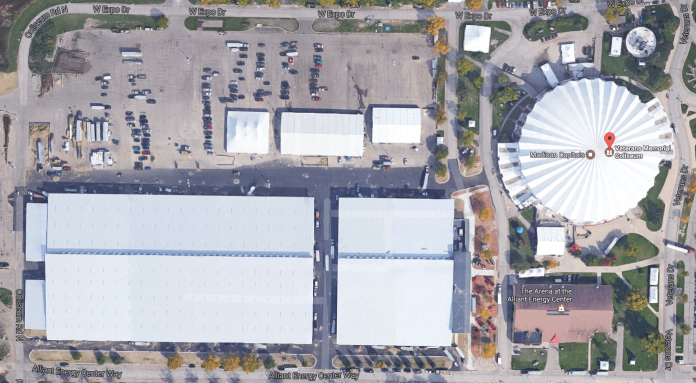 Aerial view of Alliant Energy Center, home of 2017 CrossFit Games