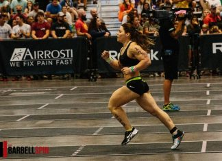 Sheila Barden at the 2017 CrossFit Central Regional. Photo by The Barbell Spin.