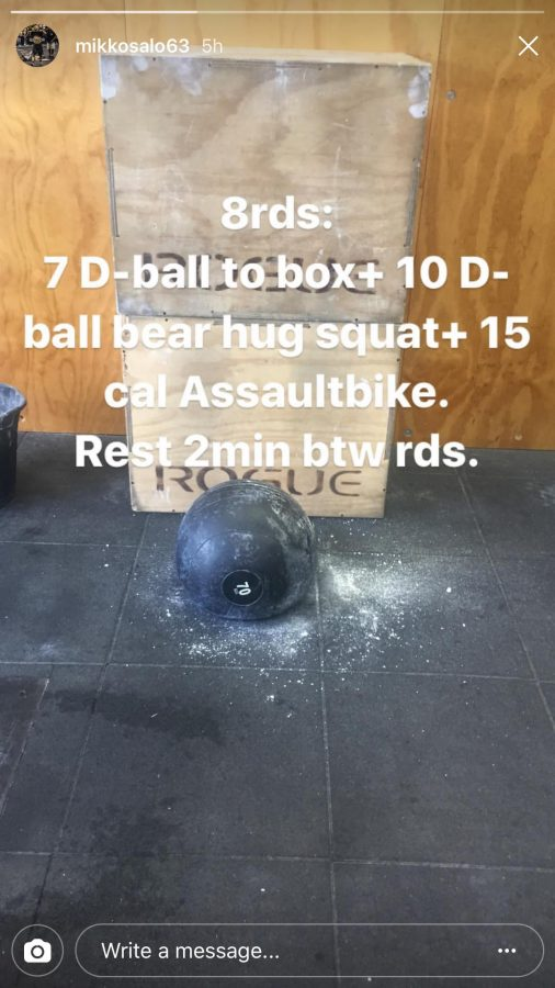 Mikko Salo shares CrossFit WOD on Instagram Stories. mikkosalo63/Instagram