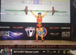 Alyssa Ritchey's 77kg snatch, earning her a silver medal at the 2017 Pan American Championships.
