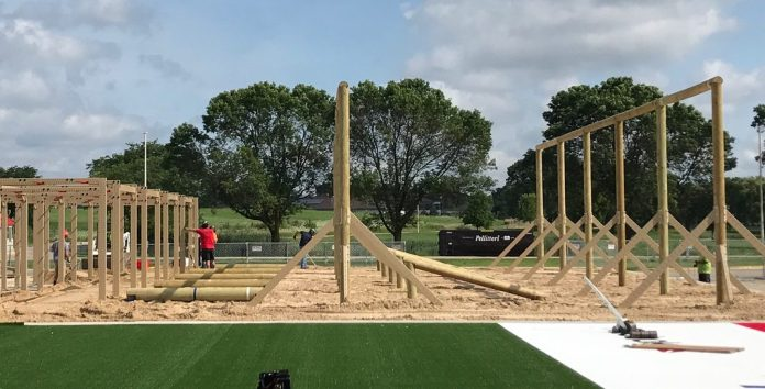 Sprint O-Course construction at the 2017 CrossFit Games. @thedavecastro/Instagram