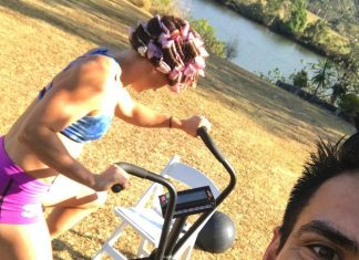 Tia-Clair Toomey on the Assault Bike the morning of her wedding. @shaneorr01/Instagram