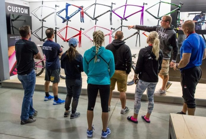 CrossFit athletes visit Trek Bicycle HQ. @hinshaw363/Instagram