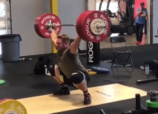 Wes Kitts unofficially breaks American Record with 180kg snatch at USA Worlds training camp at Rogue Fitness
