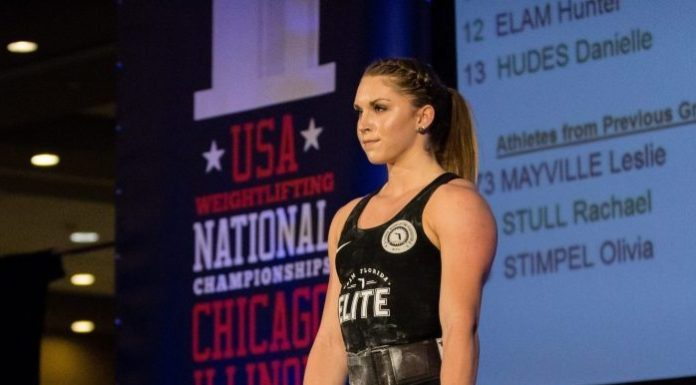 Mattie Rogers at the 2017 USAW National Championships. Photo courtesy of Lifting Life.