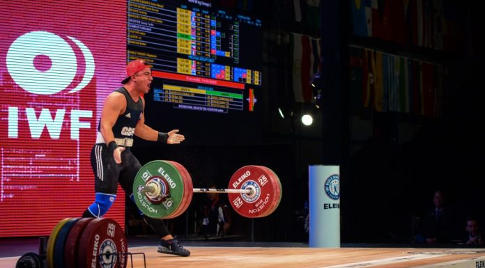 Sonny Webster at the 2015 IWF World Championships. Photo courtesy of Lifting Life.