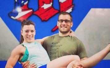 Christy Adkins and her husband, Tim, at CrossFit Mayhem. @christyphillipsadkins/Instagram