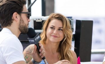 Christmas Abbott being interviewed at the 2018 Wodapalooza Fitness Festival.