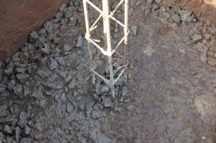 Column footing and rebar