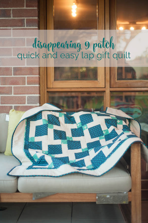 disappearing nine patch quilt with a masculine feel