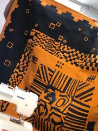 black and orange quilt