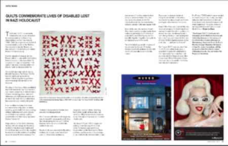 2-page spread of magazine article featuring a quilt from The 70273 Project