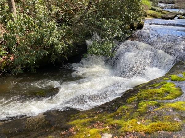 Waterfalls, moss, boulders, plants