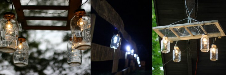 Wonderful chandeliers made by Uncle David and solar light mason jars created by the happy couple.
