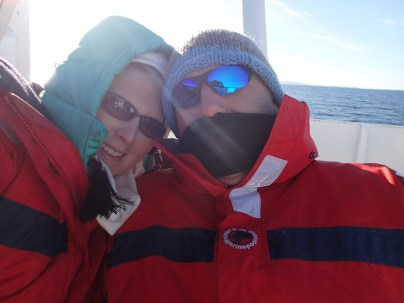 Whale watching in Reykjavik. A bit warmer today.