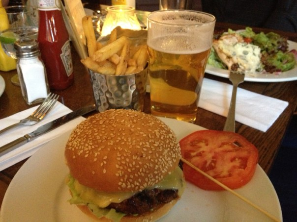 A Cambridge Bar burger - the chips are extra . . .